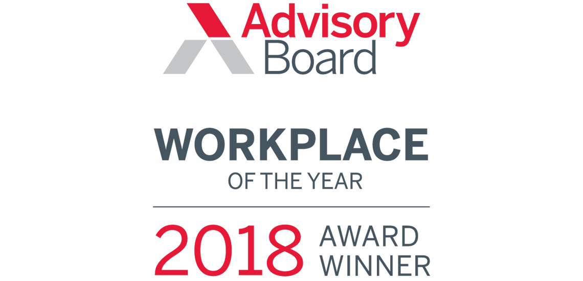 Among the 2018 Workplaces of the Year for employee engagement by the Advisory Board